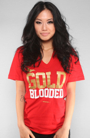 Adapt - Gold Blooded Women's V-Neck Shirt, Red