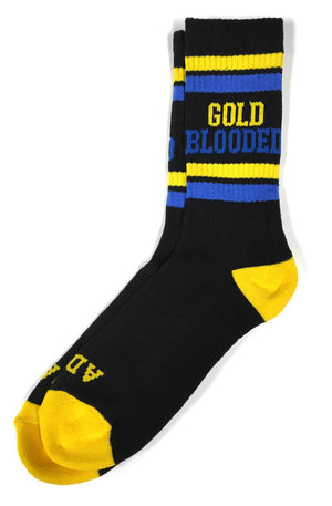 Adapt - Gold Blooded Men's Socks, Black/Royal - The Giant Peach