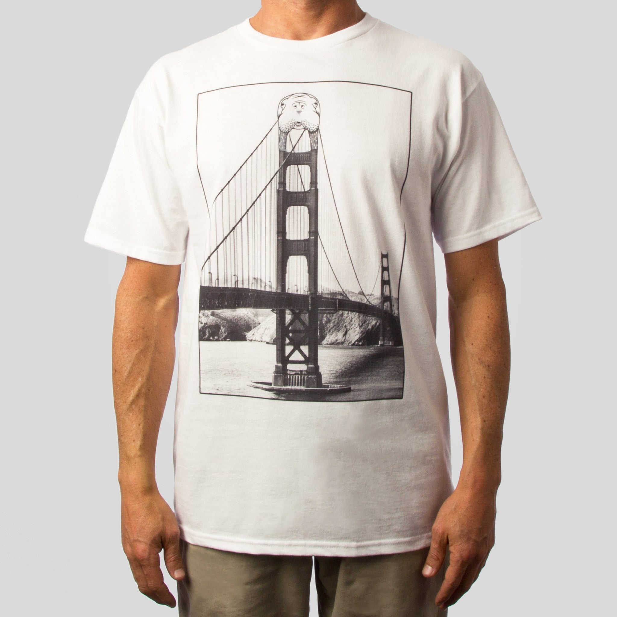 SuperFishal (Jeremy Fish) - Golden Tusk Bridge Men's Shirt, White - The Giant Peach - 1