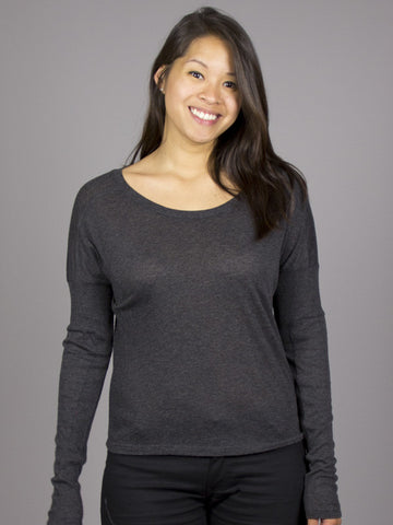 RVCA - Night Voyage L/S Women's Top, Charcoal Heather