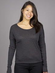 RVCA - Night Voyage L/S Women's Top, Charcoal Heather - The Giant Peach - 1