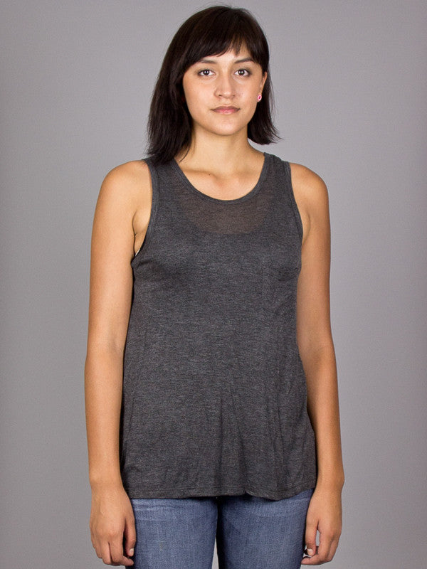 OBEY - Fresh Air Sheer Women's Tank Top, Heather Charcoal - The Giant Peach - 1