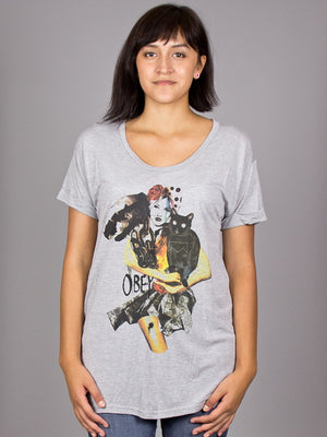 OBEY - Tribeca Rayon Women's Shirt, Heather Grey - The Giant Peach