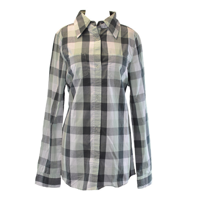 Lifetime - New Dreams L/S Buttoned-Down Women's Shirt, Green Check - The Giant Peach
