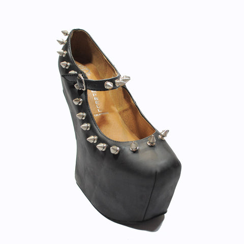 Jeffrey Campbell - Night Spike Women's Shoes, Black  Silver