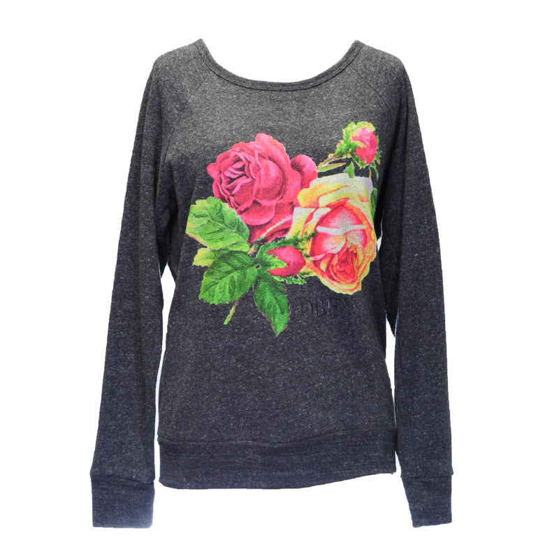 OBEY - Bed of Roses Women's Graphic Fleece, Heather Onyx - The Giant Peach