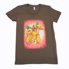The Giant Peach - Robo Peach Women's Tee, Brown - The Giant Peach