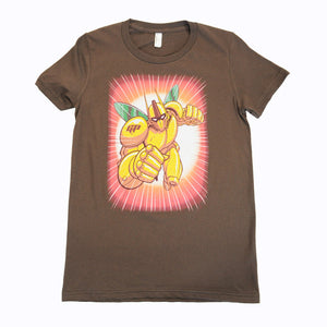 The Giant Peach - Robo Peach Women's Shirt, Chocolate - The Giant Peach