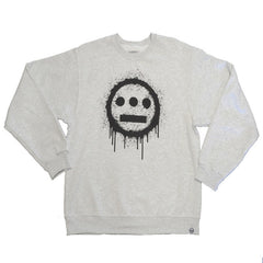 delHIERO - Splatter Men's Crewneck Sweatshirt, Heather Grey - The Giant Peach - 1