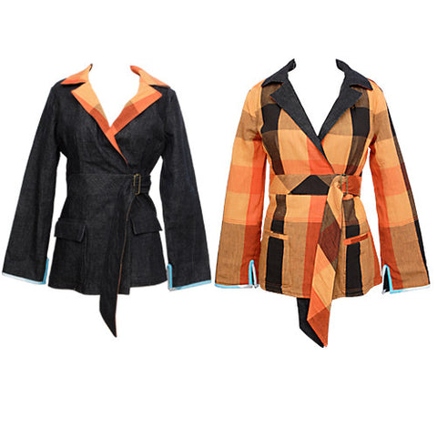 Nicacelly - Reverb Reversible Women's Blazer, Indigo/Orange