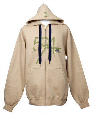 594 - Good Disease Men's Zip Hoodie, Khaki - The Giant Peach