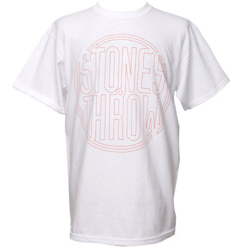 Stones Throw - Outline Logo Shirt, White (w/ Orange) - The Giant Peach