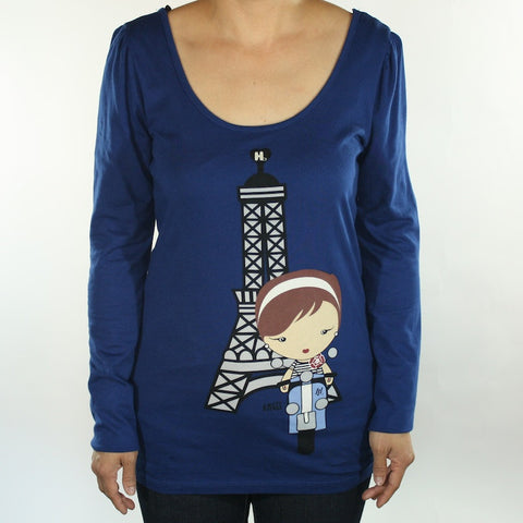 Harajuku Lovers - Angel Frenchie Girl Puff L/S Juniors Top, Deep Blue