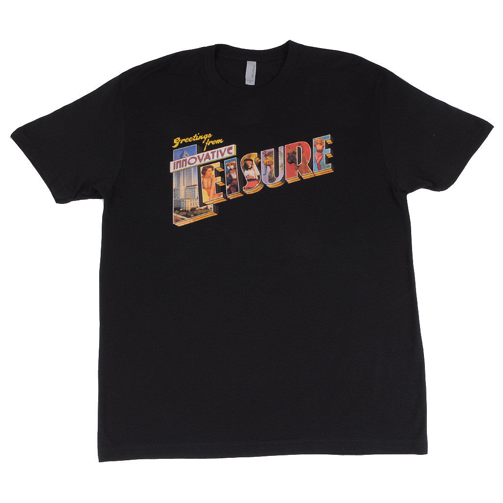 Innovative Leisure - Greetings from IL Arc Men's T-Shirt, Black - The Giant Peach
