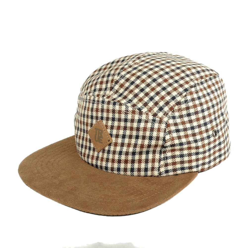 TRUE - Grown Man Plaid 5 Panel Snapback Hat, Tan - The Giant Peach - 1