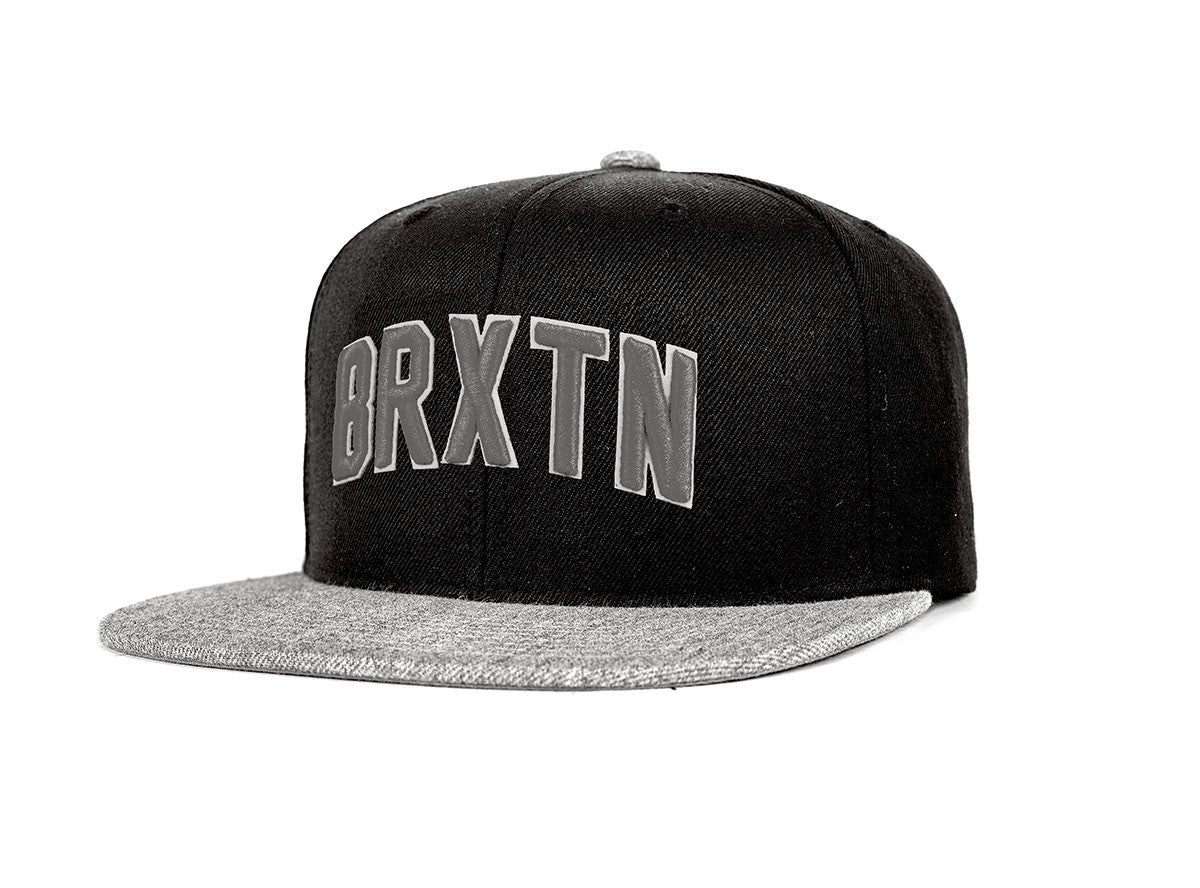 Brixton - Hamilton Men's Snapback, Black/Light Heather Grey - The Giant Peach