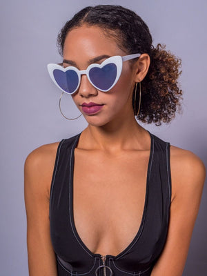 Wholehearted Sunglasses, White/Blue Mirror
