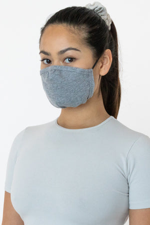 Los Angeles Apparel - 3 Pack of Cotton Face Masks, Heather Grey
