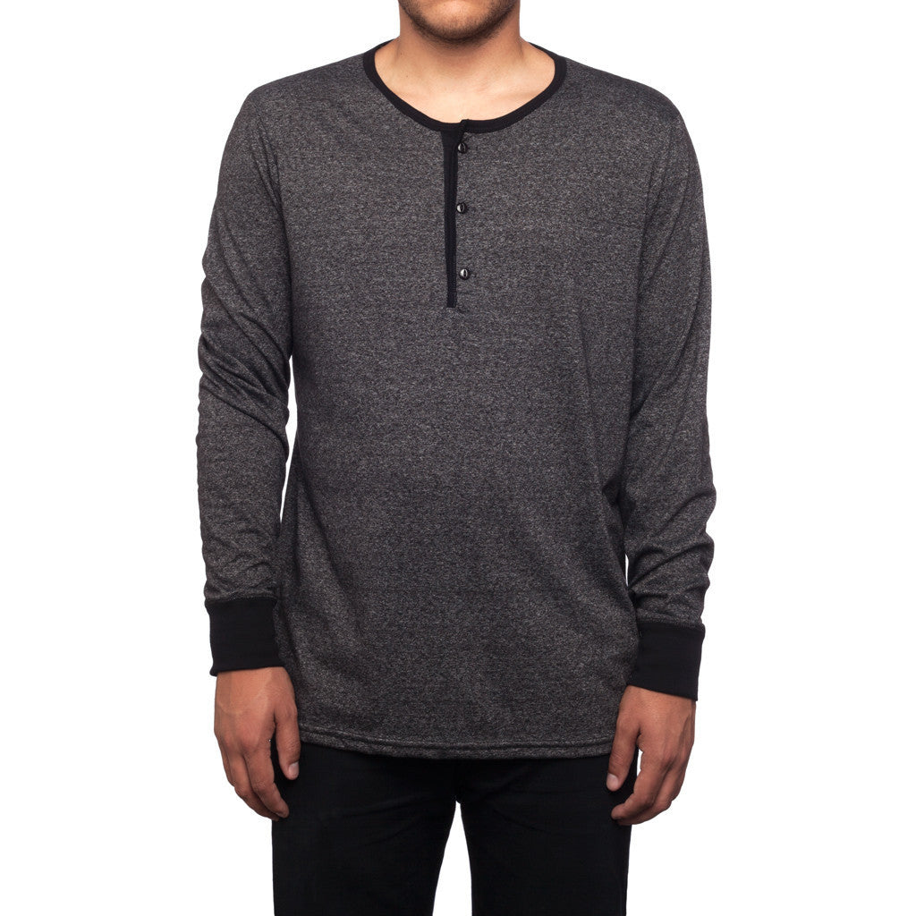 HUF - Mock Twist L/S Script Men's Henley, Charcoal Heather - The Giant Peach - 1
