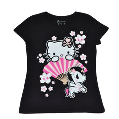 tokidoki - Hello Sakura Women's Tee, Black - The Giant Peach