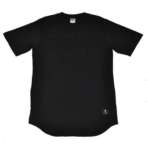 Acrylick - Solid High Low Men's Tee Shirt, Black