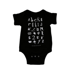TRUE - Hip Hop Alphabet Infant One Piece, Black