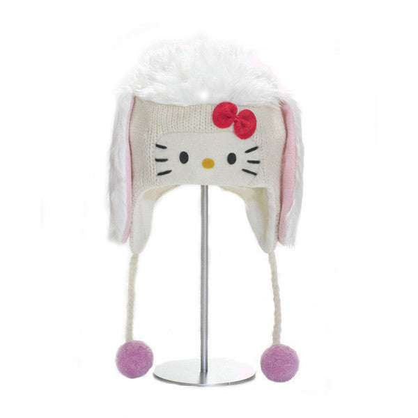knitwits - Hello Kitty Women's Poodle Pilot Hat, White - The Giant Peach