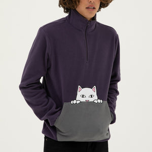 RIPNDIP - Peek A Nermal Brushed Fleece 3/4 Men's Zip Sweater, Purple/Gray