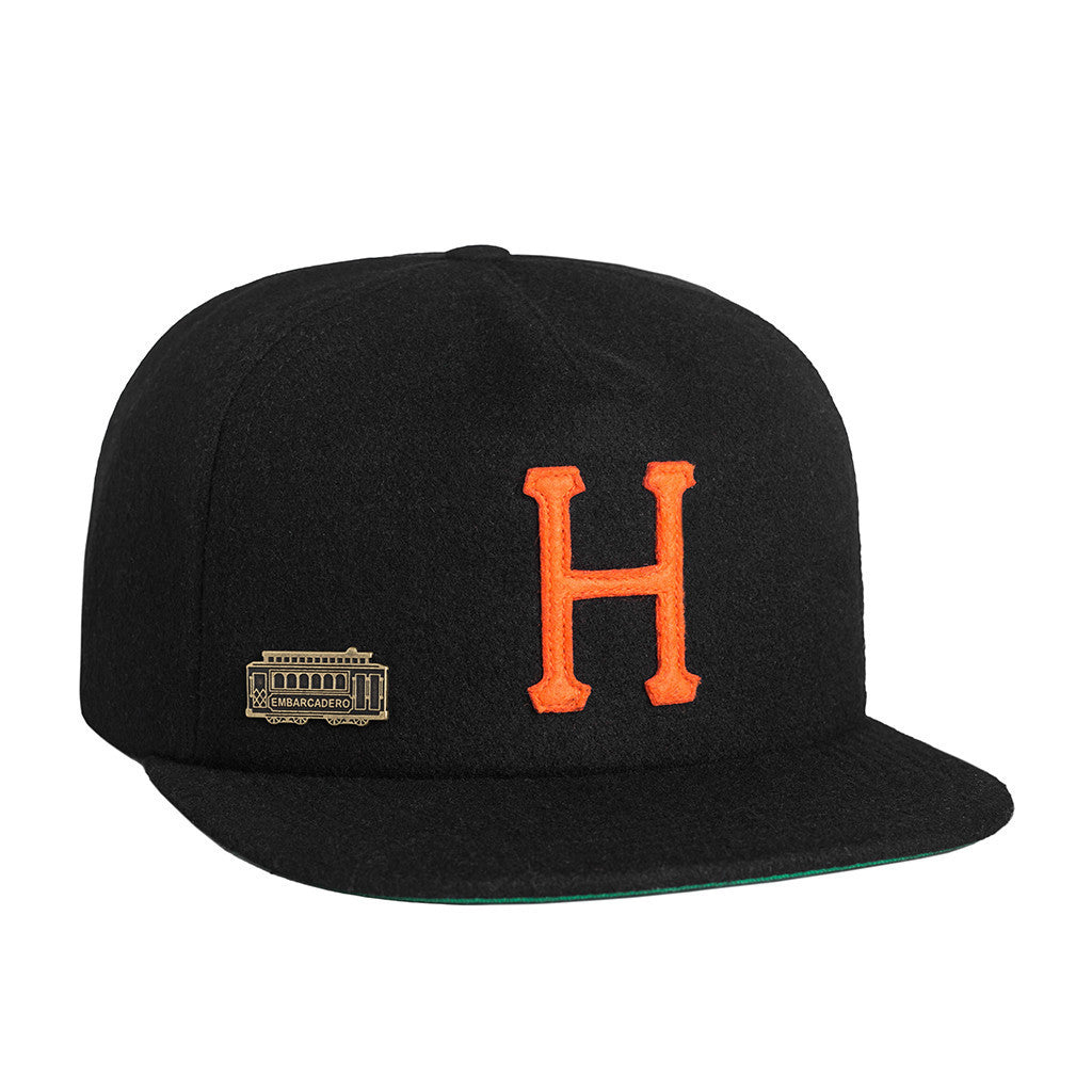 HUF - Home Field Wool Strapback, Black - The Giant Peach