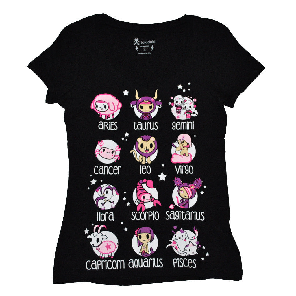 tokidoki - Toki Horoscope Women's V-Neck Tee, Black - The Giant Peach