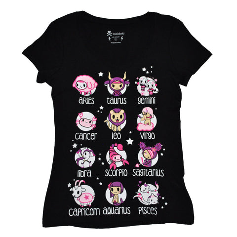 tokidoki - Toki Horoscope Women's V-Neck Tee, Black
