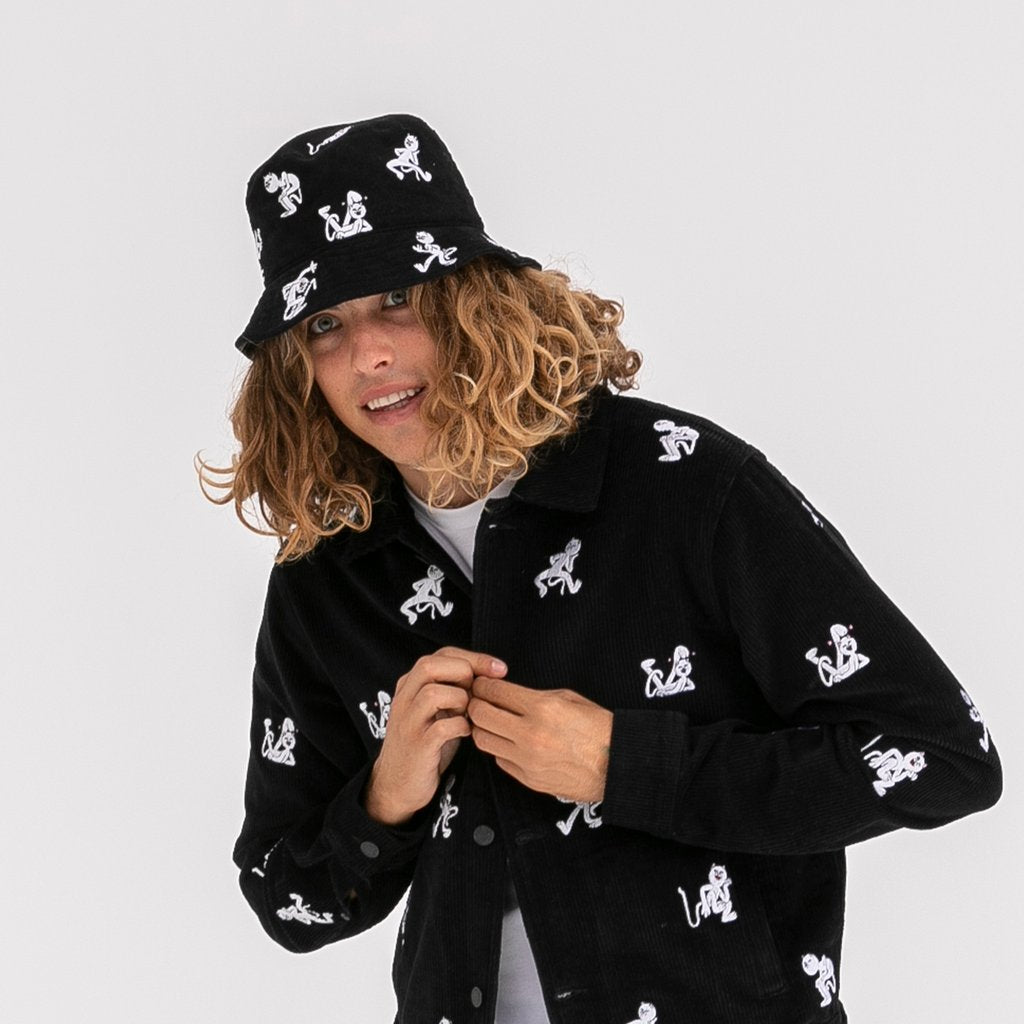 RIPNDIP - Dance Party Embroidered Bucket Hat, Black
