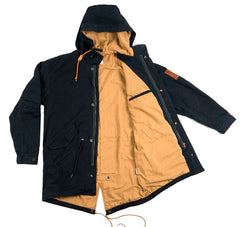 Akomplice -  Hudson Fishtail Men's Trench Jacket, Midnight Blue - The Giant Peach