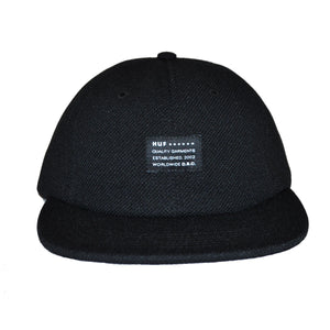 HUF - Diamond Knit 6 Panel Hat, Black - The Giant Peach