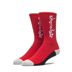 HUF x  Chocolate Crew Socks, Red