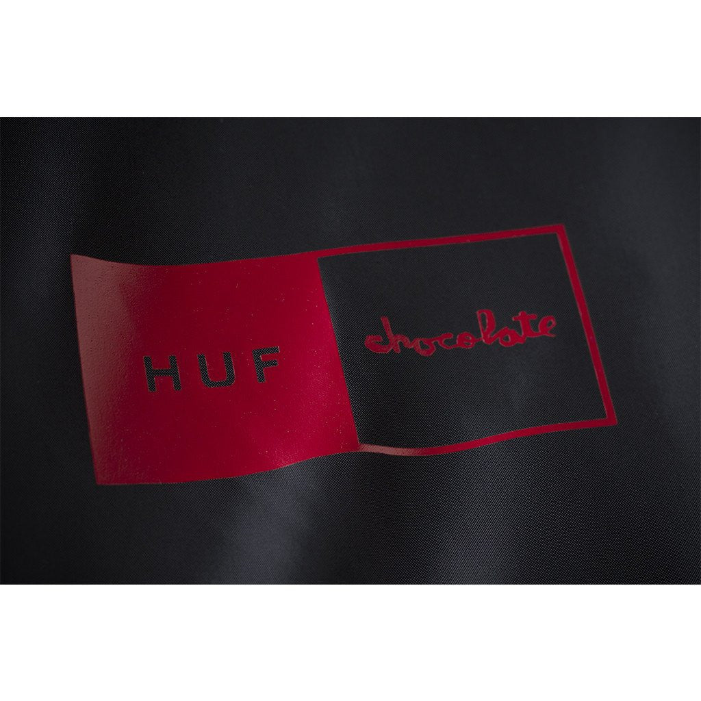 HUF x Chocolate Packable Men's Anorak, Black/Red - The Giant Peach