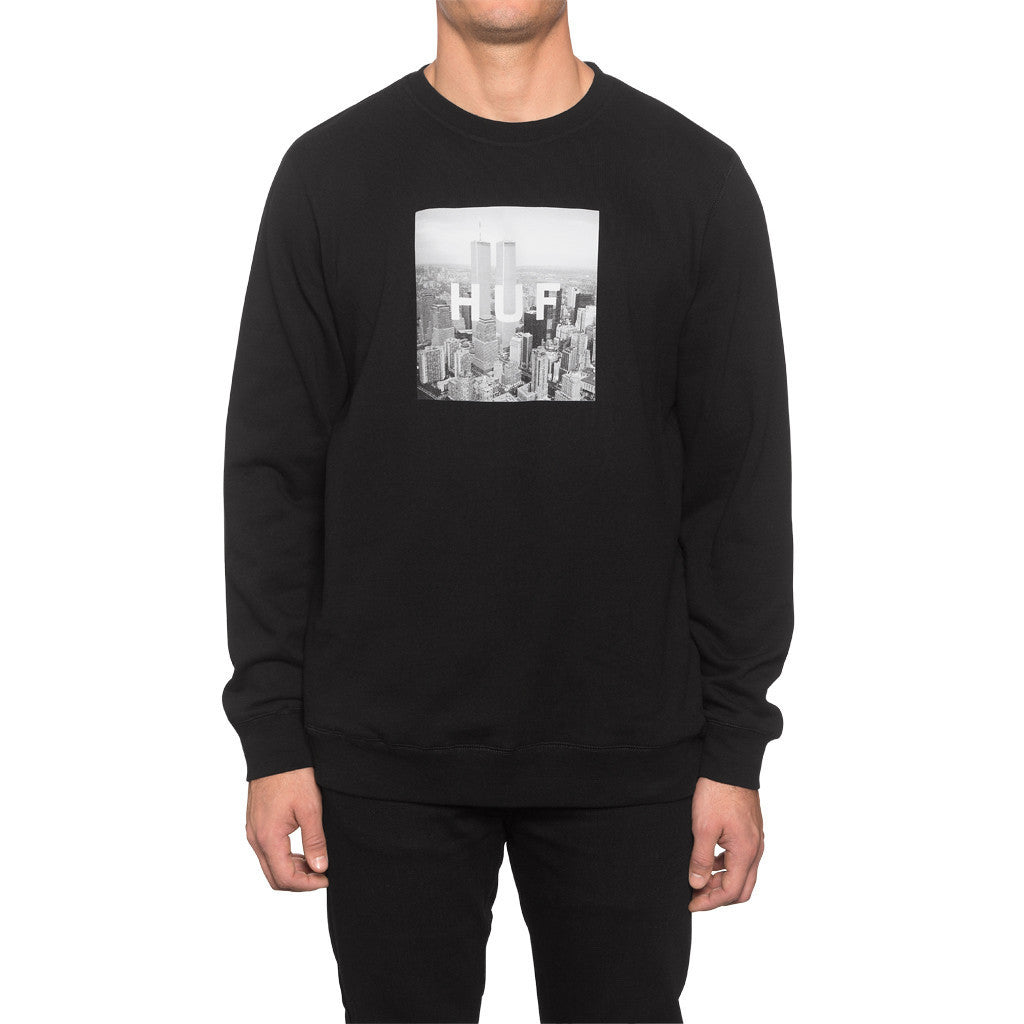 HUF - New York Box Logo Crewneck Sweatshirt, Black - The Giant Peach