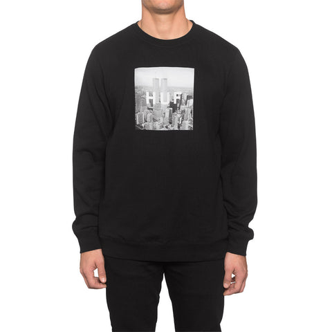HUF - New York Box Logo Crewneck Sweatshirt, Black