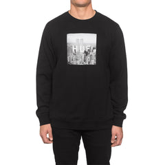 HUF - New York Box Logo Crewneck Sweatshirt, Black - The Giant Peach - 1