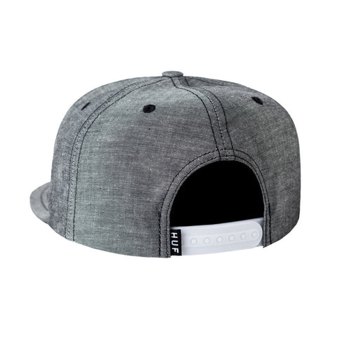HUF - Chambray Box Logo Snapback, Black