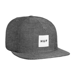 HUF - Chambray Box Logo Snapback, Black - The Giant Peach - 1