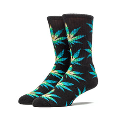 HUF - Cabazon Crew Socks, Black/Plantlife - The Giant Peach - 1