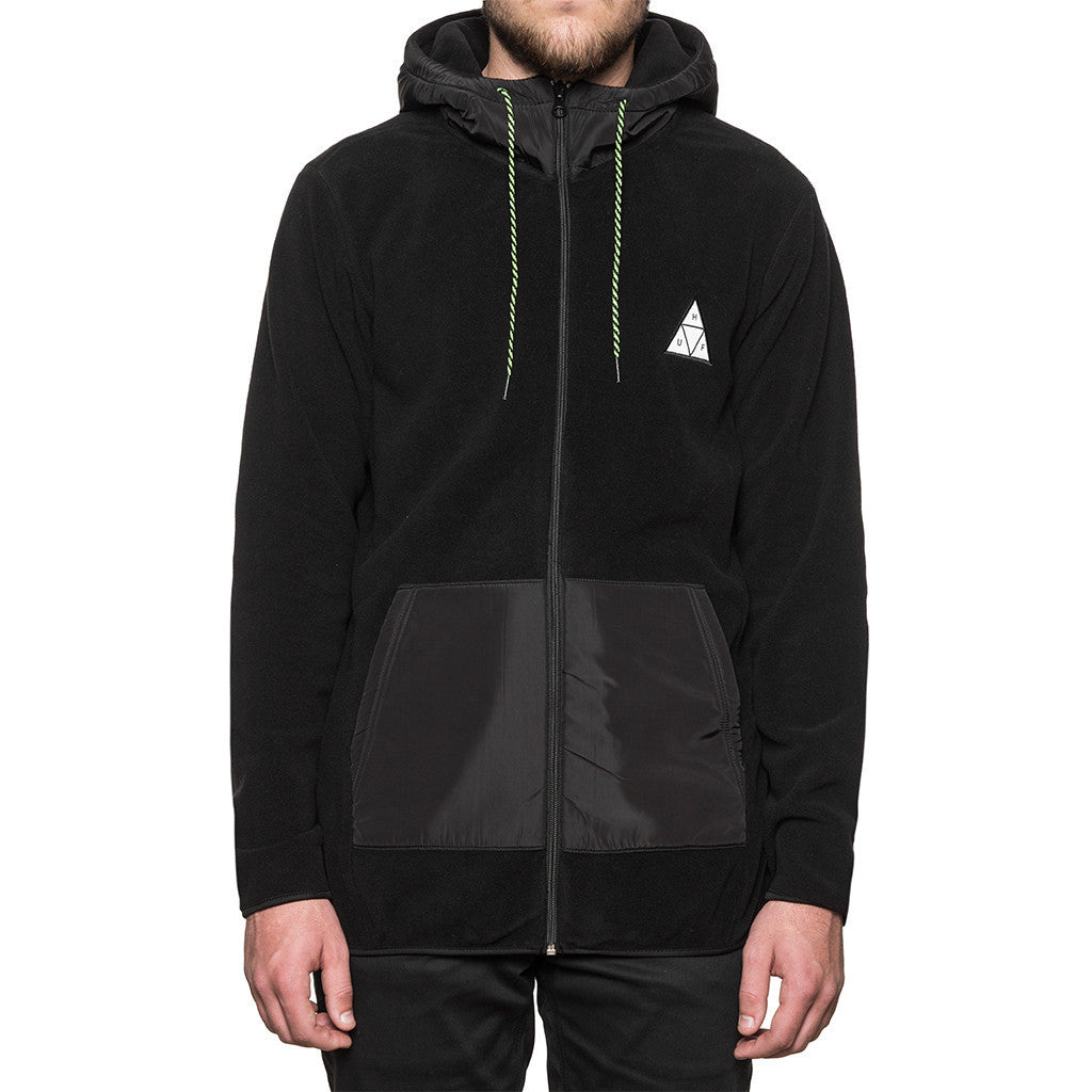 HUF - Stanton Polar Fleece Men's Zip Hood, Black - The Giant Peach