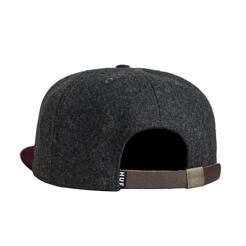 HUF - Wool Classic H Strapback Hat, Charcoal/Wine