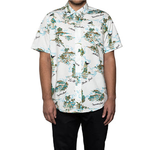 HUF - Makapuu S/S Men's Shirt, White - The Giant Peach