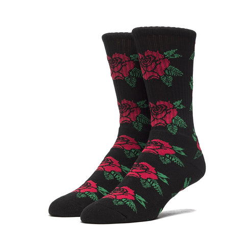 HUF - Black Rose Crew Socks, Black/Red/Green