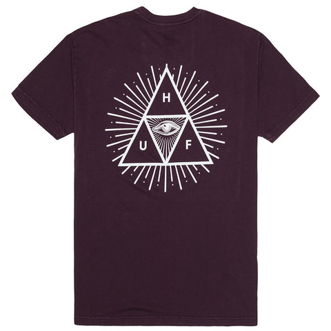HUF - Mineral Wash 3rd Eye Trip Men's Tee, Wine