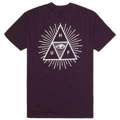 HUF - Mineral Wash 3rd Eye Trip Men's Tee, Wine - The Giant Peach