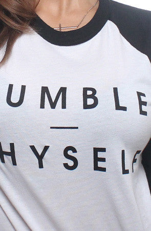Adapt - Humble Thyself Women's Raglan Tee, White/Black