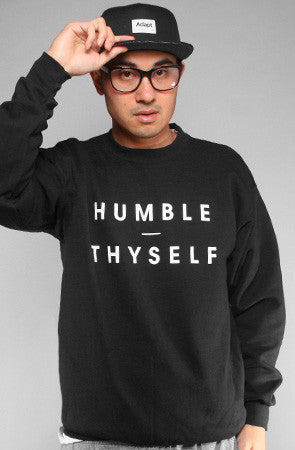Adapt - Humble Thyself Men's Crewneck Sweatshirt, Black - The Giant Peach